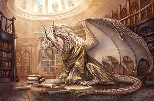 AMTTGOYY Pussel 1500 bit vit drake i bokhandeln Vuxenpussel Barnpussel Träpussel Leksak DIY Kit Heminredning