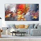JNZART Abstrakte Moderne rote Wolken Leinwand Malerei Plakate und Drucke Wandbilder für Wohnzimmer dekorative Bilder Gemälde 40x80CM