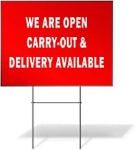 Fastasticdeals Weatherproof Yard Sign We are Open Carry-Out & Delivery Available Cafe Restaurant Drive Thru Open Lawn Gard...