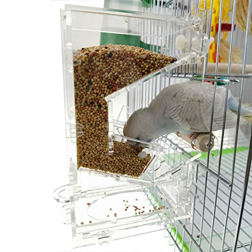 MuYaoPet No Mess Bird Cage Feeders with Perch Automatic Parrot Seed Tube Birds Cage Accessories for Parakeet Conure Cockatiel Finch (4.9' 2.56.4')