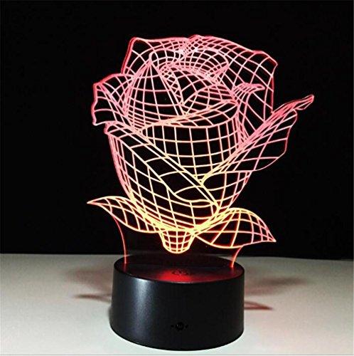 Atmko®Veilleuses 3D Nuit Lumière Visualisation Glow 7 Changement de Couleur USB Bouton Tactile Et Intelligent Télécommande Bureau Éclairage de Table Beau Cadeau Décorations de Bureau à Domicile Jouets (Fleur Rose)