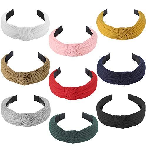 Funtopia 9 diademas para mujeres y niñas con nudos cruzados para el pelo con colores sólidos