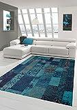 CARPETIA Designer Tapis Patchwork Vintage Tapis du Salon Orient kelem Multicolor Bleu...