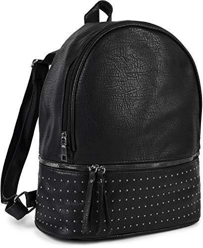 styleBREAKER zaino da donna borsa a mano con piccole borchie sferiche e chiusura a cerniera dello scomparto 02012313, colore:Nero