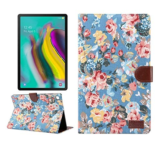 QGT for Samsung Galaxy Tab A7 T505 Flower Cloth Texture PC Horizontal Flip Leather Protective Case, with Holder & Card Slots & Wallet & Photo Frame & Sleep/Wake-up Function (Color : Blue)