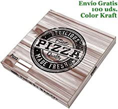 VASOMADRID, S.L. 100 uds - Caja Pizza Carton Kraft 260x260x35. Caja ECOLÓGICA DESECHABLE para Pizza Bonito DISEÑO (26_cm)