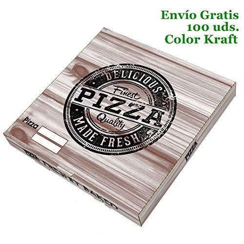 VASOMADRID, S.L. 100 UDS Cajas Pizza Cartón Kraft (de 26x26cm a 40x40cm). Caja ECOLÓGICA DESECHABLE para pizza Bonito DISEÑO