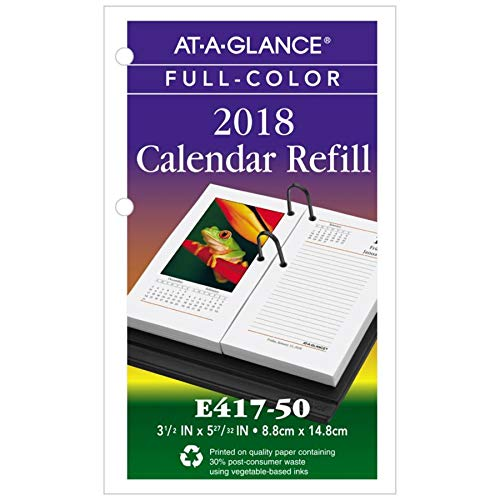 AT-A-GLANCE Photographic Desk Calendar Refill, 3 1/2 x 6, 2018 (E41750)