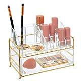 mDesign Organizador de maquillaje – Práctica caja transparente para organizar cosméticos en el...