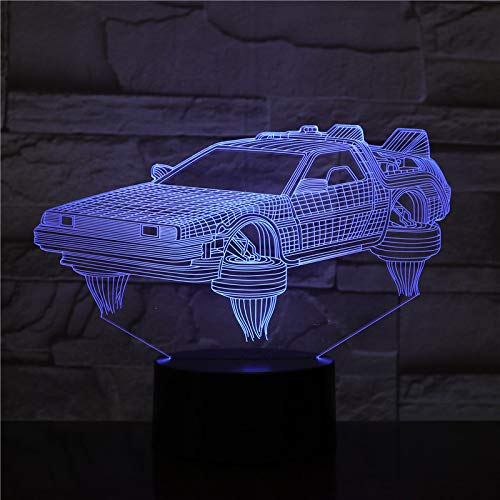Sanzangtang Led-nachtlampje, 3D-vision-zeven, kleuren-afstandsbediening, return to future, autolampje, filmfans, nachtlampje, op batterijen, nachtlampje, nachtlampje