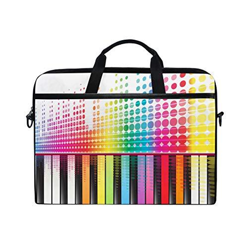 BEITUOLA 15-15.4 Zoll Laptop Taschen,Regenbogentasten Piano Sound Waves Lines,Verschiedene Muster multifunktionale Laptop Tasche tragbare Hülle Aktentasche Umhängetasche