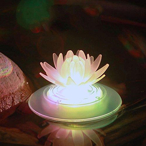 pearlstar Schwimmende Solar Pool lichter Farbwechsel LED Leuchten für Außenbereich Gartenbeleuchtung Nachtlichter für Teich Pool Brunnen, wasserdichte Blume Dekoration, Lotus-1 Stück