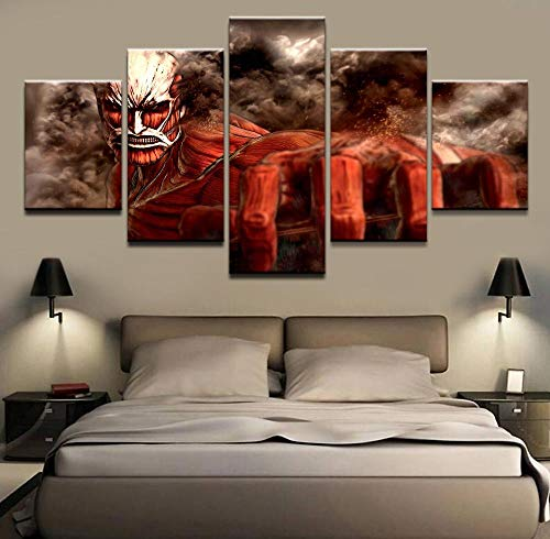 LVLJ ZEALCY Pintura en Lienzo Imagen de impresión Moderna 5 Piezas Ataque a Titán colosal Titan Shingeki No Kyojin póster Arte de Pared decoración del hogar -Cuadro