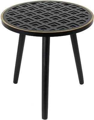 THE HOME DECO FACTORY HD6416 Table Basse D'appoint Bois à Motif Lisere, MDF, Noir, Doré, 40 x 40 x 41 cm