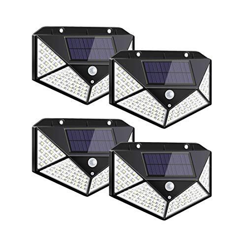 Solarlampen für Außen,【270 ° Vierseitige Beleuchtung- 2200mAh】100 LED Solarleuchte mit Bewegungsmelder Solar Wasserdichte Wandleuchte Solar Aussenleuchte Solarlicht für Garten (4PCS)