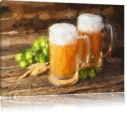 Bier in glas op houten tafelFoto Canvas | Maat: 120x80 cm | Wanddecoraties | Kunstdruk | Volledig gemonteerd
