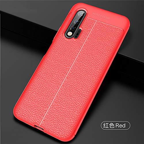 HHF Teléfono móvil Accesorios para Huawei Nova 6, Lichi Pattern TPU Funda TPU a Prueba de choques TPU Suave de Cuero para Huawei Nova 6 5G 6.57' (Color : Red, Material : For Nova 6)