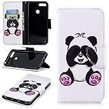 sinogoods Für Huawei Y6 2018 / Huawei Honor 7A Hülle, Premium PU Leder Schutztasche Klappetui Brieftasche Handyhülle, Standfunktion Flip Wallet Case Cover - Panda