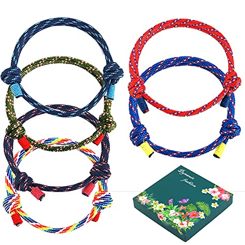 Juego de 6 pulseras de cuerda ajustable, pulsera de la amistad, cuerda azul marina hecha a mano, para hombre y mujer, con caja de regalo