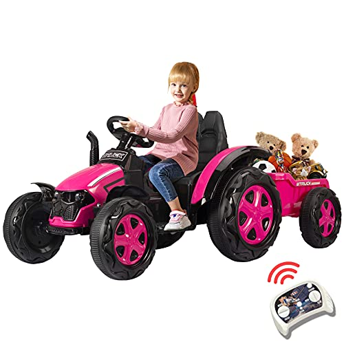Ride On Tractor with Detachable Trailer Electric 12v Battery-Powered Toy Kids Car with Remote Gift for 3-8 Year Old /Dual Drive/Music/Horn/Light