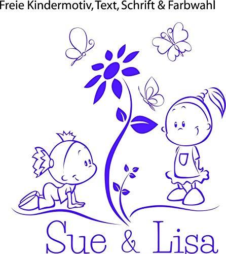 NEU Baby-Kinder Autoaufkleber, Sticker, Wandaufkleber, Türtattoo ***2 Geschwister mit Ihrem Wunschtext - Design 2*** (Größen.-Motiv.-Farb.- und Schriftauswahl)