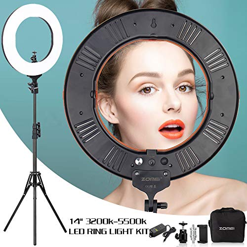 ZOMEI 14 inch Dimmable LED Ring Light with Stand for Live Stream Photography Youtuber Lighting