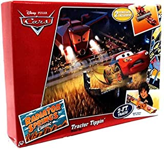 Disney / Pixar CARS Movie Exclusive Playset Tractor Tippin Track Set Includes Plastic Frank Lightning McQueen
