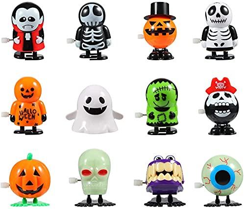 FunsLane Juguetes de Halloween Calabaza Fantasma Calavera Wind Up Juguetes, divertidos juguetes de salto para fiesta de Halloween Favor bolsa de relleno (12 unidades)