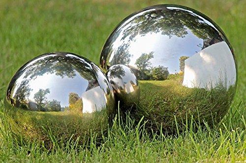 DAFLOXX Gartenkugel Set poliert 13 und 18 cm aus Edelstahl Silber Kugel Dekokugel