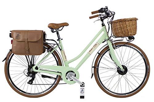 Canellini E Bike Dolce Vita by Pedalata assistita Bicicletta Elettrica EBIKE E-Bike Bici Citybike CTB Donna Vintage Retro Alluminio Verde Chiaro