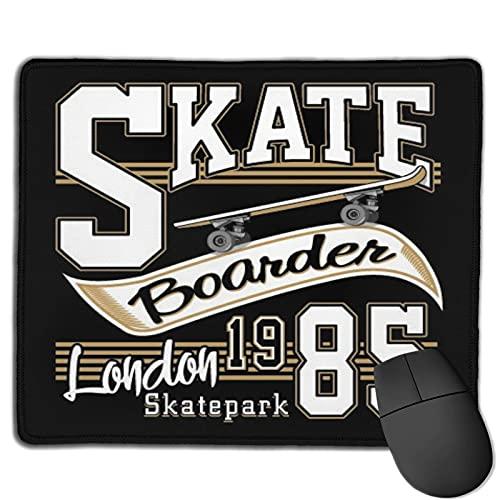 Zollamt Mauspad,London Skate Board Typografie Grafiken,Quadratisches Gaming-Mauspad, rutschfeste Gummibasis für Heim-Laptop, Reisen, personalisierter Schreibtisch, 9,5