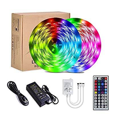 YORMICK Led Strip Lights 32.8 feet IP65 Waterproof Flexible Color Changing SMD 5050 RGB 300-LED Light Strips Kit with 44 Keys IR Remote Control for Bedroom,Room,Kitchen,Party