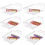 Under Shelf Basket, iSPECLE 6 Pack White Wire Rack, Slides Under Shelves For Storage, Easy to Install