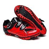 BING FENG Zapatos de MTB Hombres Deporte al Aire Libre de la Bicicleta Zapatos de autobloqueo Profesional Que compite con la Bici del Camino (Color : Red, Shoe Size : 11)