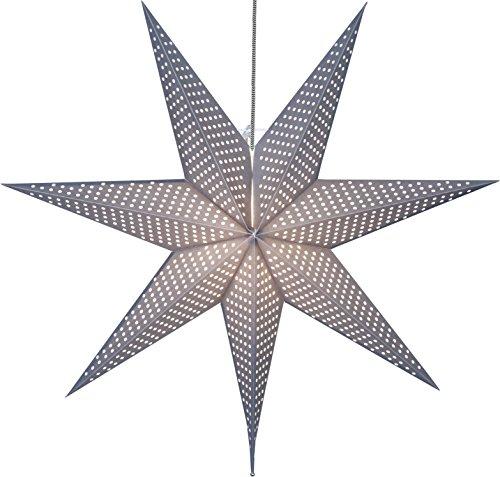 Star Papierstern Huss grau, Metall, E14, 16 x 60 x 60 cm