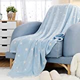 JINCHAN Blue Throw Blanket Star Blanket Glow in The Dark Cozy Flannel Fluffy Blanket Throw for Nursery Living Room Couch Decor Luminous Soft Blankets Gifts Kids Boys Girls 50x60 Inch