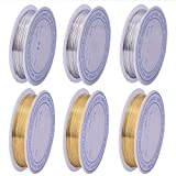 LIMEOW Fili di Perline di rRame 6 Rotoli Filo Metallico Artigianale in Argento Filo di Rame per Gioielli Perline per Braccialetti Collane Orecchini Bigiotteria Mestiere DIY (Dimensioni-0.4,0.6,1mm)