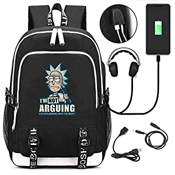 Rick and Morty Backpack for School College Student Laptop Bookbag Travel Business with USB Charging Port,Black 1