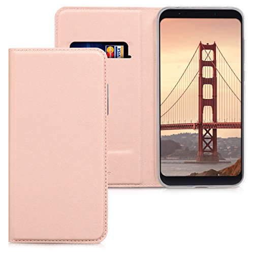 kwmobile Funda Compatible con Xiaomi Redmi 5 Plus/Redmi Note 5 (China) - Carcasa de Cuero sintético - Case Plegable en Oro Rosa