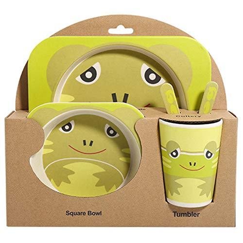 NEYOANN 5 Unids/Set Placa de Animal de Dibujos Animados + Arco + Tenedor + Taza Juego de AlimentacióN de Vajilla de Bebé Fibra de Bambú Bebé Juego de Vajilla de Contenedor Rana