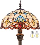 Tiffany Style Floor Lamp W16H64 Inch Tall(2LED BULB Inclued) White Blue Stained Glass Baroque Shade Standing Reading Lighting Antique Base WERFACTORY LAMPS Lover Gift Bedroom Bedside Table Living Room
