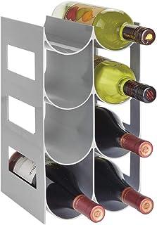 mDesign Práctico estante para botellas de vino – Botelleros para vino y otras bebidas para guardar hasta 8 unidades – Vino...