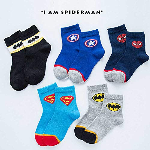 ZHANGNUO Niños Niños Niñas Calcetines Cálidos De Invierno Dibujos Animados Marvel Iron Man Superman Spiderman Batman Bebé Otoño Algodón Grueso Calcetines Transpirables 2-3T / Skyblue