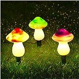 Set of 3 Mushroom Outdoor Solar Garden Lights Cute Shape Mushroom...