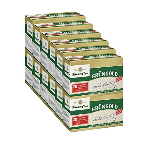 Bünting Tee Grüngold, 20 Tassenbeutel, kuvertiert, 12er Pack