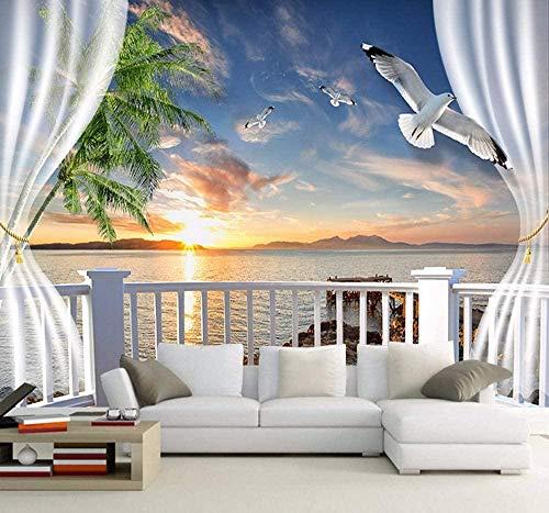 Mural Papel tapiz fotográfico 3D para arte de pared moderno Sala de estar Balcón Exterior Puesta de sol Playa Paisaje Papel tapiz 3D, Papel tapiz TV Papel de decoración de pared Mural-400x280 cm