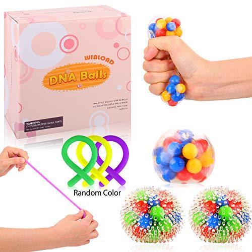 Winload Antistress-Bälle, 4 Stück Stressabbaukugeln, Squishy Spielzeugball und Sensorische Fidget Stretch Spielzeug für Kinder und Erwachsene Geschenk, Anti Angst Spielzeug für ADD, ADHS, Autismus