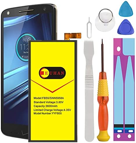 Motorola Droid Turbo 2 Battery Upgraded Euhan 3600mAh Rechargeable Li Polymer Battery FB55 SNN5958A product image