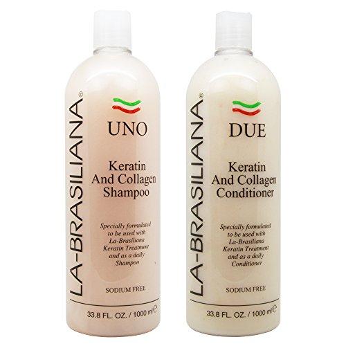 LA-BRASILIANA UNO Keratin And Collagen Shampoo 33.8oz + Conditioner 33.8oz Combo Set Sale! by La-Brasiliana