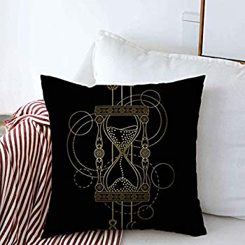 Starohou Throw Pillows Cover 16 x 16 Inches Clock Abstract Techno Pattern Sandglass Geometric Hourglass Tattoo Crystal Tatoo Moon Amulet Arrow Cushion Case Cotton Linen for Fall Home Decor